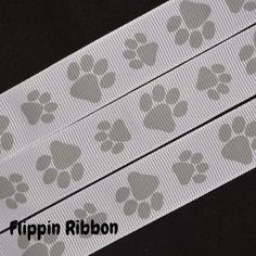 Silver Paw Print Ribbon - 7/8 inch Printed Grosgrain