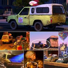 The Pizza Planet Truck After playing a key role in Toy Story, the Pizza Planet delivery truck has appeared in every Pixar movie except The Incredibles. And who cares about anachronisms? It even shows up in Brave as a wood carving at the witch's shop. Disney Pixar, Disney Memes, Disney Toys, Easter Eggs In Movies, Disney Easter Eggs, Funny Disney Pictures, Sarcastic Pictures, Disney Fun Facts, Disney Theory