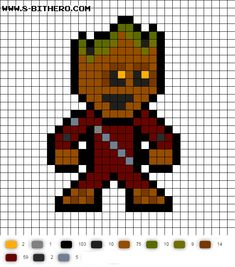 Minecraft Pixel Art Ideas Templates Creations Easy / Anime / Pokemon / Game / Gird Maker Groot GotG Vol 2 Perler Bead Pattern Fuse Bead Patterns, Bead Embroidery Patterns, Perler Patterns, Beading Patterns, Cross Stitch Patterns, Pixel Art Templates, Perler Bead Templates, Pixel Art Groot, Pixel Pattern