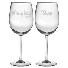 Depending on if you are feeling naughty or nice, you can choose who gets which glass.  Cleverly etched.