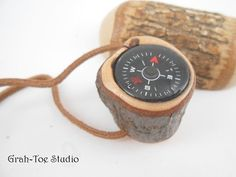 Compass in Wood for Walking Stick or Pocket by grahtoestudio, $16.50