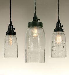 Quart, Half Gallon And Big Mason Jar Pendant Light   Clear Glass
