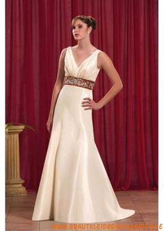 Klassisches Brautkleid A-Linie mit Band V-Ausschnitt