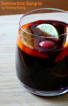 Summertime Sangria: 1 bottle dry red wine (750 milliliter),  1/4 cup cognac or brandy, 1/4 cup triple sec liqueur, 1/4 cup orange juice, 1/4 - 1/3 cup sugar (depending on your desired sweetness), and a bunch of fruit, 1 liter seltzer water