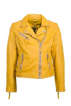 Gipsy - 198.69 - 5.0 von 5 Sternen - Frühlingsjacke Red Leather, Leather Jacket, Yellow, Fashion, Jackets, Studded Leather Jacket, Moda, Leather Jackets, Fashion Styles