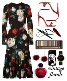 """""""Half of My Heart Is In This Floral"""" by sincerlylayla ❤ liked on Polyvore featuring Dolce&Gabbana, Gucci, Urban Decay and CLUSE"""