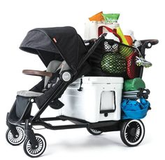 A stroller that can hold up to 150 pounds of kids, luggage, groceries, and gear.
