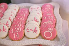 Custom Cookies for a Bridal Shower - the couple's wedding date, initials, and a big engagement ring. So cute! From Mint & Lovely Studios