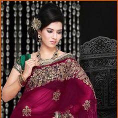 Magenta Net Saree with Blouse
