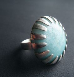 "ring, sterling silver, ""blue starburst"", large circular cabachon, handmade by lolide"