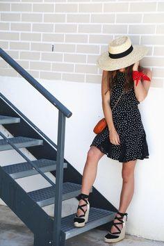 Polka dot dress & Wedges