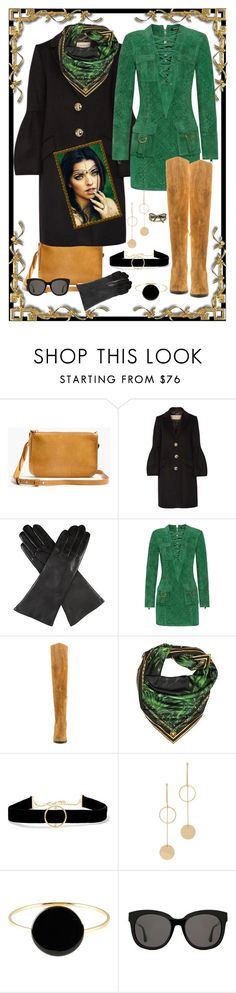 """""""Malachite and Curry Marsala"""" by susan0219 ❤ liked on Polyvore featuring Madewell, Burberry, Dents, Balmain, ALDO, Versace, Anissa Kermiche, Cloverpost, Isabel Marant and Gentle Monster"""