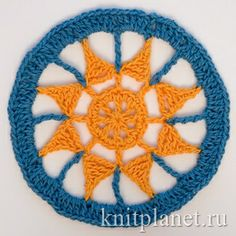 Round crochet motif number 1 (in Russian with chart)