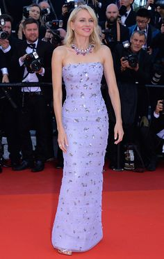11 May Naomi Watts made a statement on the red carpet in an embellished lilac Armani Privé gown with Bulgari jewellery.   - HarpersBAZAAR.co.uk