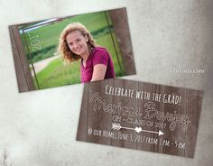 Rustic graduation party invitations with custom photo collage on mini graduation party invitations with photo on barn wood pocket size reheart Gallery