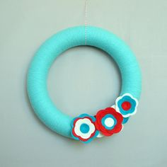 Aqua Yarn Wreath Turquoise Door Wreath Red by HeartfeltYarnWreaths, $43.00