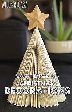 Make Christmas decorations from books - tutorial for Christmas tree and ornaments #handmadehomedecor