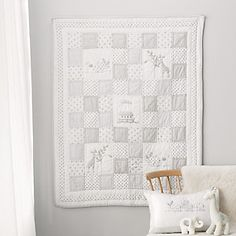 Noah's Ark Cot Bed Quilt, White, Cot Bed
