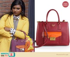 Mindy's pink and orange bag on The Mindy Project. Outfit Details: http://wornontv.net/31151/ #TheMindyProject
