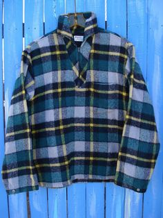1950s Forest Green Wool Plaid Pullover Surf Lumberjack Shirt Truval Sportswear Mens Size 44 by bycinbyhand on Etsy