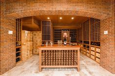 Interior, Brick Home Wine Cellar Designs With Tasting Site With Woode Closet And Wooden Ceiling Also Yellow Shade Ceiling Lamps Plus Goldenrod Boxes And Wooden Table Overfloor Tile Home Wine Cellar Designs: Ideas Of Stylish Designs For The Fashionable Home Wine Cellar