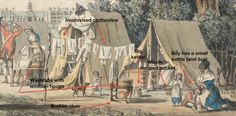 century illustration detail of a Army camp life American Revolutionary War, American War, American History, Early American, Army Life, Military Life, English Restoration, 18th Century Dress, 15th Century