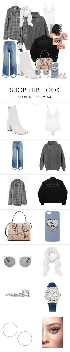 """""""take it slowly //"""" by amargueritec ❤ liked on Polyvore featuring DL1961 Premium Denim, Madewell, Versace Jeans Couture, Henri Bendel, Christian Dior, Old Navy, GUESS and Miss Selfridge"""