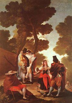 The Maja and the Masked Men 1777  Museo Del Prado Madrid  Francisco de Goya