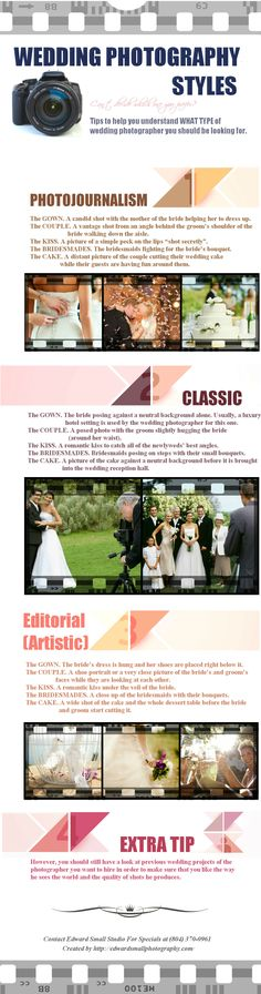This infographic can teach you how to recognize the three main photography styles. Take a look. Wedding Photography Styles, Wedding Styles, Fashion Photography, Professional Portrait, Photojournalism, Photo Tips, Portrait Photographers, Wedding Engagement, Wedding Planning