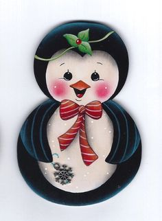 PENGUIN Roly Poly with Snowflake - Handpainted by Pamela House