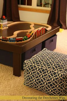 DIY Train table....me and Cale made this for Cohen for his 4th birthday, he LOVES it! We made it alittle taller and it turned out great :)