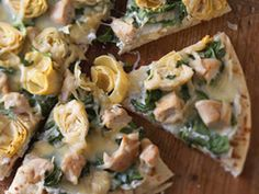 Garlic Chicken & Herb Pizza With Artichokes. If you like artichoke dip then you will love this recipe.