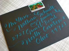 Calligraphy in blue ink on black envelopes makes any letter look special!