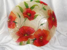 Poppy Decoupage Glass Plate GRACEFUL POPPIES by CraftyCatPlates, great for dining outdoors!