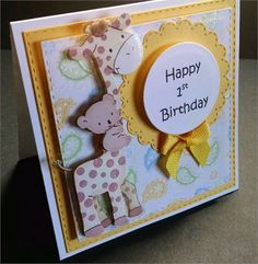 Cute little card for babys first birthday featuring a yellow and paisley background with a paper giraffe and Happy 1st Birthday printed then die cut…