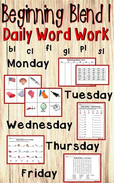 5 days of activities to use in word work centers for practice of the beginning blend l