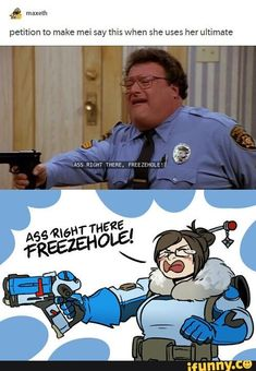 What Mei should really say in Overwatch Overwatch Comic, Overwatch Memes, Overwatch Fan Art, Video Games Funny, Funny Games, Cosplay, Only Play, Team Fortress 2, Gaming Memes