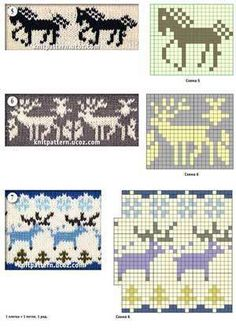 Jacquard patterns with a thematic pattern horse and deer (knitting)