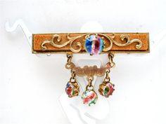 Antique Iris Glass Rhinestone Brooch by TheJewelryLadysStore