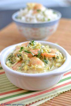 Curry de crevettes au lait de coco à ma façon : http://tomatesansgraines.blogspot.fr/2016/02/curry-de-crevettes-au-lait-de-coco-ma.html
