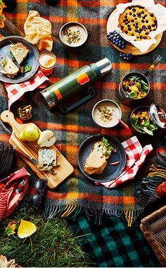 A gorgeous fall picnic on plaid.