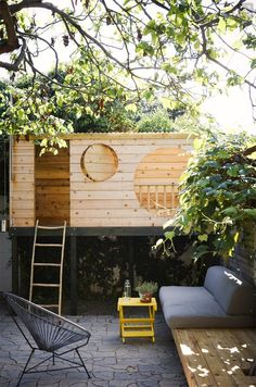 modern bohemian treehouse | 15 Amazing Outdoor Playhouses :: 100 Layer Cakelet