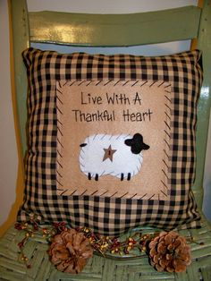 Sheep Pillow Primitive Stitchery Country Decor by wvluckygirl