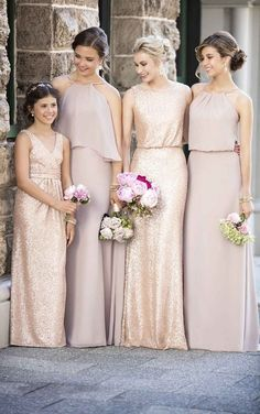 shade of pink wedding bridesmaid dresses/ stylish wedding bridesmaid dresses/ rustic chic wedding dresses