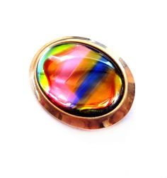 Vintage Rainbow Glass Pin / Brooch