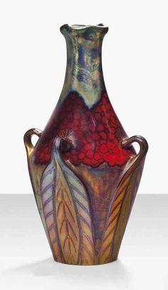 Zsolnay váza kevert tecnikákkal