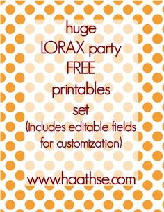 Free lorax party printables set
