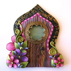 Fairy Door, Pixie Portal, Home Decor, Fairy Garden Accessory, Window Fairy Door, Miniature Tooth Fairy Door by Claybykim on Etsy