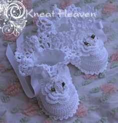 Boutique Crochet Irish Rose Baby Booties #2 - Kneat Heaven Boutique -