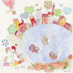 Meredith Gaston - Picnic at Swan Lake Gaston, Swan Lake, Art Inspo, New Art, Illustration Art, Illustrations, Whimsical, Wall Decor, Kids Rugs